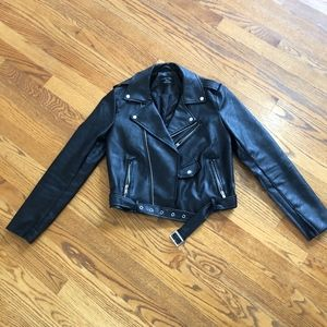 Jackets & Blazers - Faux Leather Zip Up Moto Biker Jacket